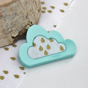 Acrylic And Fabric Cloud Brooch - pins & brooches