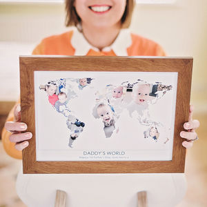 Personalised 'Daddy's World' Photograph Map - posters & prints
