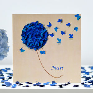 Nan Or Nana Card Blue Hydrangea Butterfly Stem