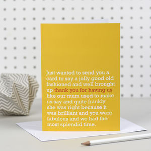 'Thank You For Having Us' Card