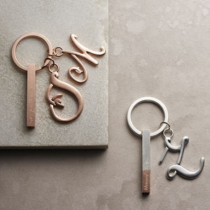 Bar Keyring With Initial Charm - gifts from older children
