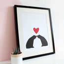 Bear Couple Sitting Silhouette, Personalised A3 Print
