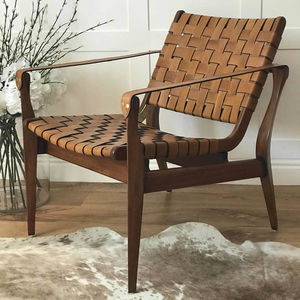 Woven Tan Leather Vegetal Armchair - armchairs