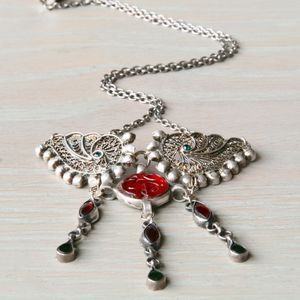 Silver Ornate Bohemian Statement Necklace