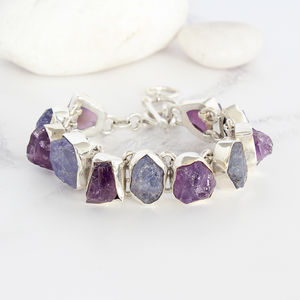 Amethyst And Tanzanite Gemstone Silver Ladies Bracelet - bracelets & bangles