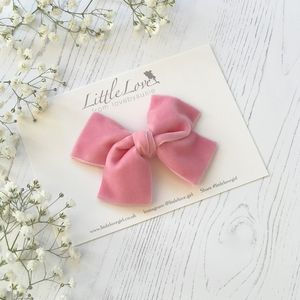Little Love Velvet Bow Hair Clip/ Rose Pink - flower girl gifts