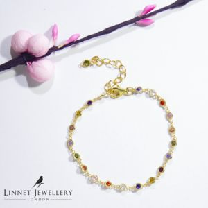 Colour Stones Cz 925 Silver Bracelet Yellow Rose Gold