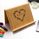 Personalised Floral Heart Tablet Or Book Stand