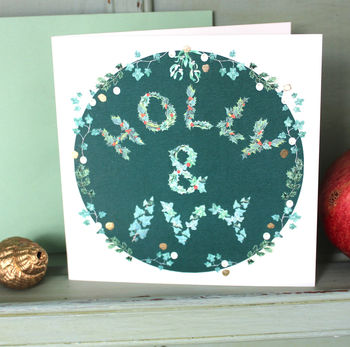 Holly And Ivy Christmas Card In Green Pack Of Six