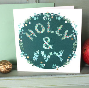 Holly And Ivy Christmas Card In Green Pack Of Six - cards