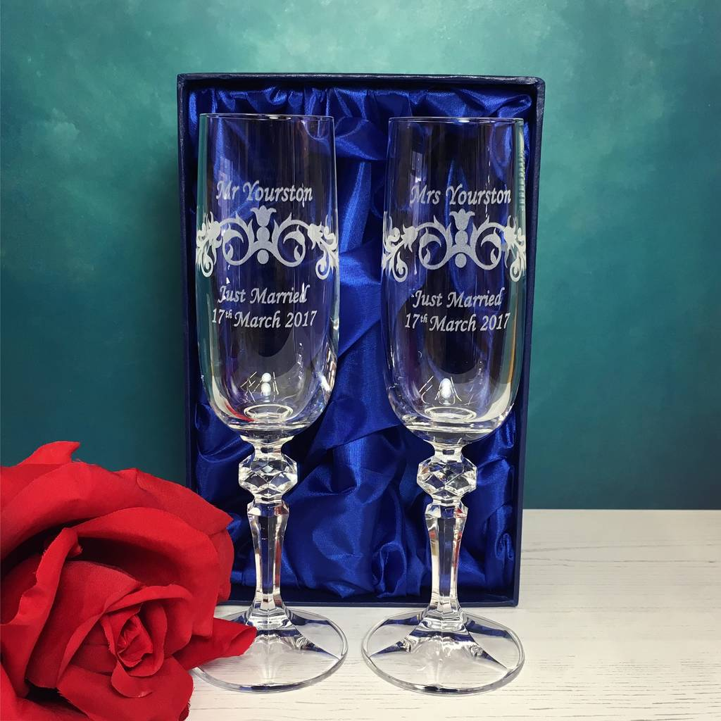 Personalised Wedding Champagne Flutes