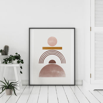 Pink And Gold 'Six' Abstract Geometric Art Print