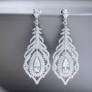 Vintage Style Feather Crystal Earrings