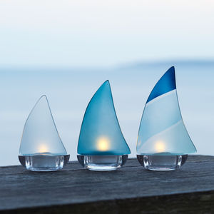 Regatta Boat Glass Tea Light Holder - candles & home fragrance