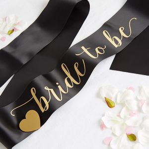 Black Satin Bride To Be Sash With Heart Pin - monochrome & metallic hen party