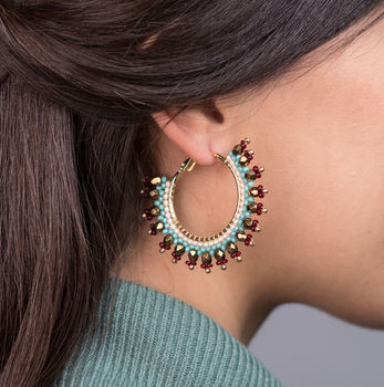 Navajo Beaded Hoop Earrings