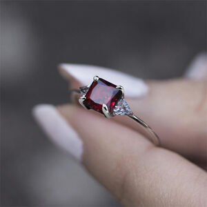 Garnet Stone Vintage Style Ring In Silver Or Gold