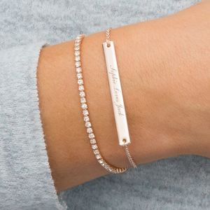 Personalised Crystal And Bar Bracelet Set - bracelets & bangles