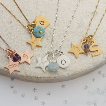 Zodiac Star Necklace Personalised With Letter Charm