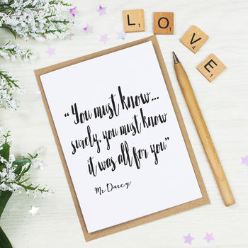 Mr Darcy Valentines Card