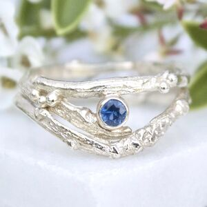 White Gold And Sapphire Engagement Ring Set