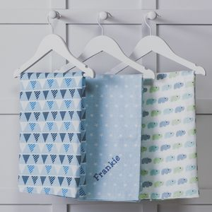 Personalised Three Pack Blue Muslin Squares