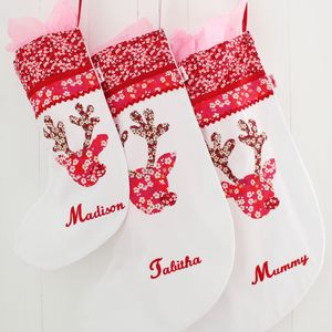 Personalised Reindeer Girl Christmas Stocking