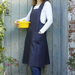 Personalised Cross Back Linen Multi Purpose Apron