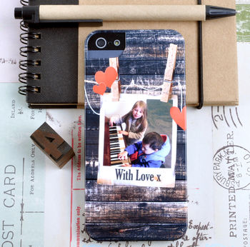 Personalised Photo Phone Case With Hearts And A Message for iPhone 5 5S