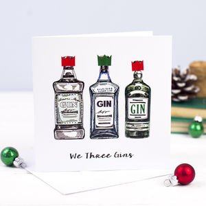 'We Three Gins' Gin Christmas Card - christmas cards