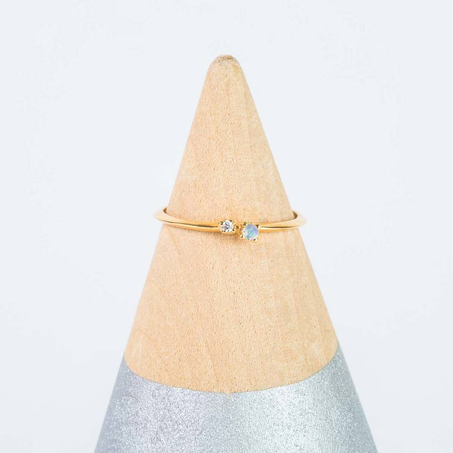 14k Gold Vermeil Moonstone And Diamond Stacking Ring