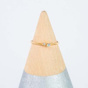 14k Gold Vermeil Moonstone And Diamond Stacking Ring - new season