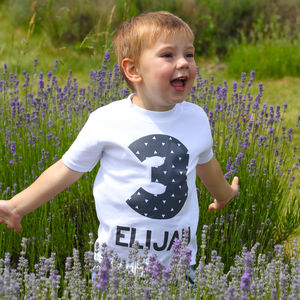 Personalised Monochrome Birthday Age T Shirt - clothing