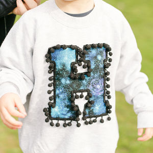 Personalised Kids Sweatshirt With Galaxy Print Letter - jumpers & cardigans