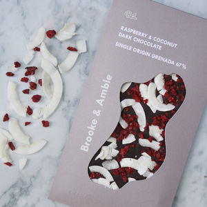 Raspberry And Coconut Dark Chocolate - chocolates & confectionery