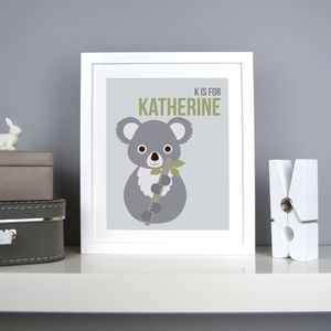 Personalised Koala Nursery Print