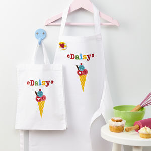 Girls Personalised Apron And Mini Bag Set - gifts for bakers