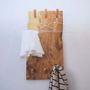 Natural Wood Wall Clothes Rack