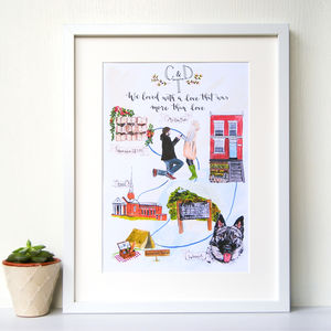 Personalised Illustrated Love Story Art Print - drawings & illustrations