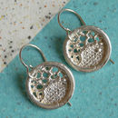 Round Lacey Silver Earrings   Medium