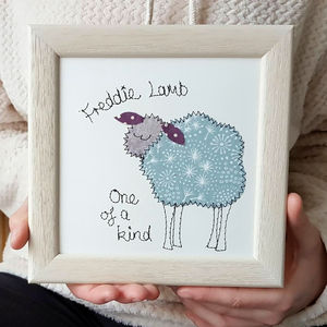 Personalised Sheep Embroidered Framed Art - textile art