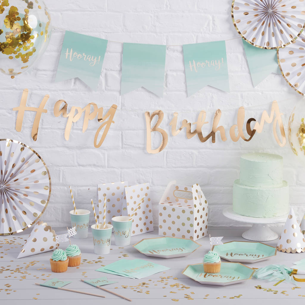 Gold Foiled Happy 18th Birthday Bunting Backdrop By Ginger