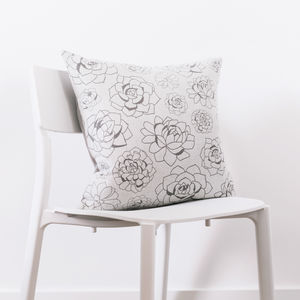 Succulent Print Cushion With Linen Back