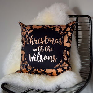 Personalised Rose Gold Christmas Cushion - cushions