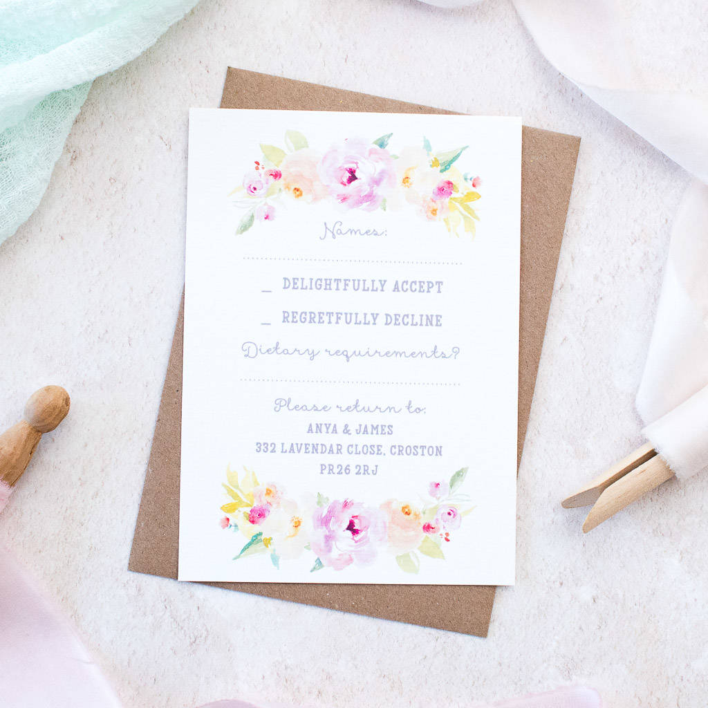 floral sweetheart wedding invite sample pack by nina thomas studio ...