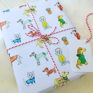 Dogs In Coats Winter Wrapping Paper Pack - wrapping