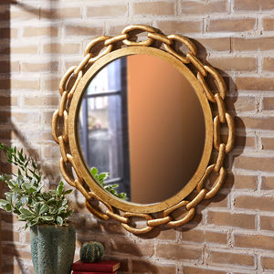 Chain Link Detail Gold Wall Mirror - mirrors
