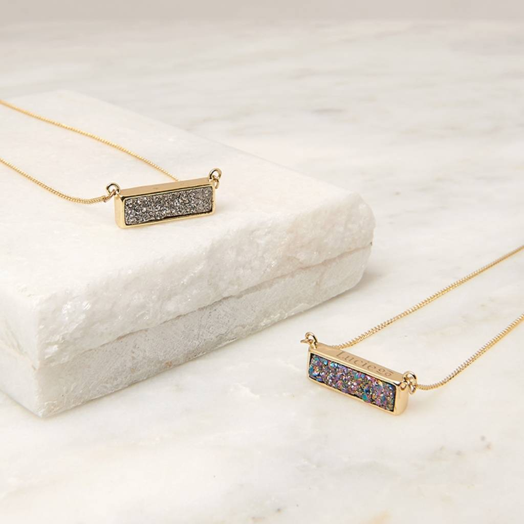 Personalised rectangle druzy pendant by dose of rose personalised rectangle druzy pendant mozeypictures Gallery