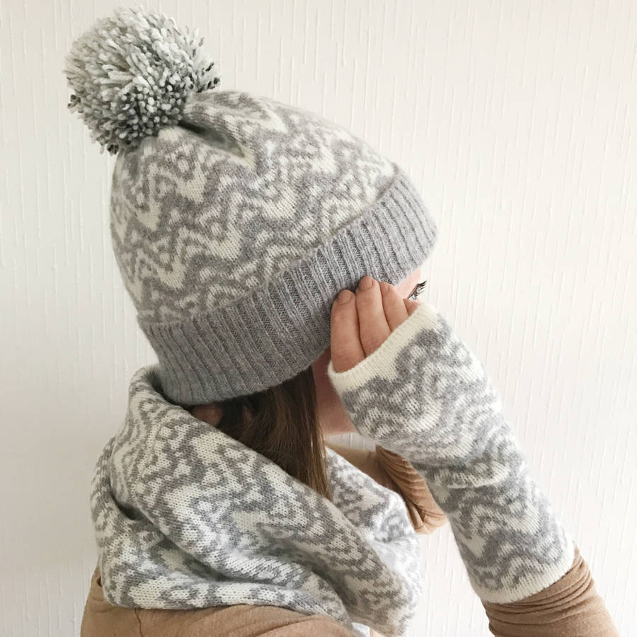 Knitting Pattern For Bobble Hat : ladies lambswool knitted bobble hat waves pattern by little knitted stars n...