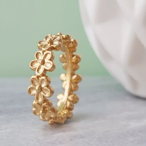 Gold Vermeil Medium Flower Garland Ring - rings